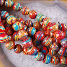 New 6mm Red Multicolor Turkey Turquoise Gemstone Round Loose Bead15''