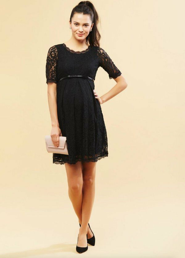326ab6e0fb92b Details about NEW MOTHERHOOD MATERNITY BLACK LACE FIT AND FLARE DRESS SIZE  SMALL