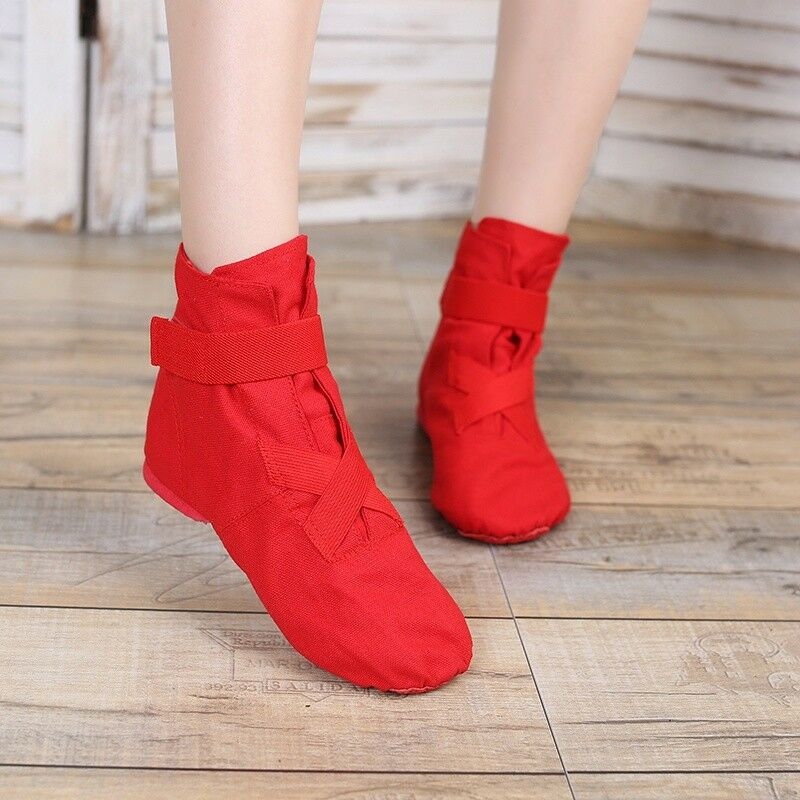 91feca9d39 Details about Lady Girls Dance Shoes High Top Soft Canvas Ballroom Trainers Modern  Ankle Boots