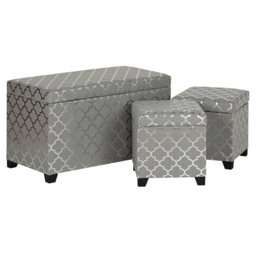 Hartleys Grey & Silver Storage Ottomans Set of 3 Ottoman Stool/Trunk Bench/Box