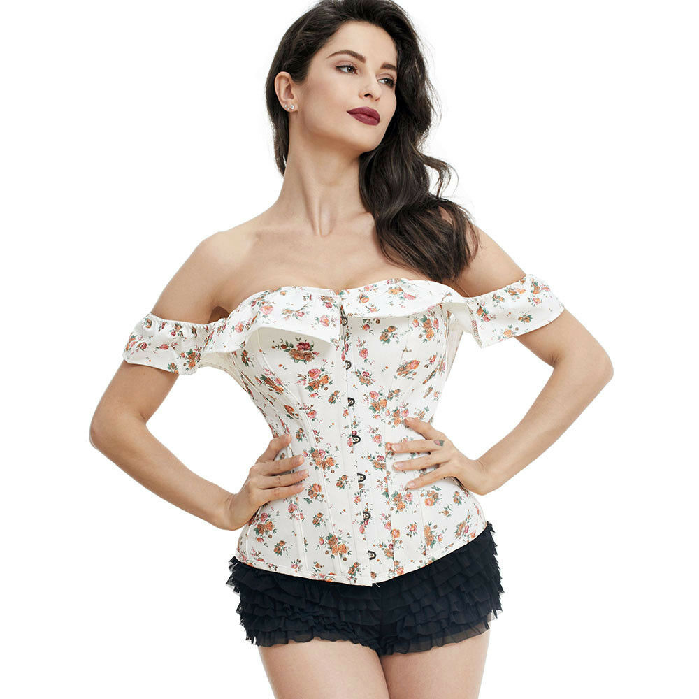 6baab448c1b Details about womens floral vintage steel boned overbust corset tops with  off shoulder collar jpg 1000x1000