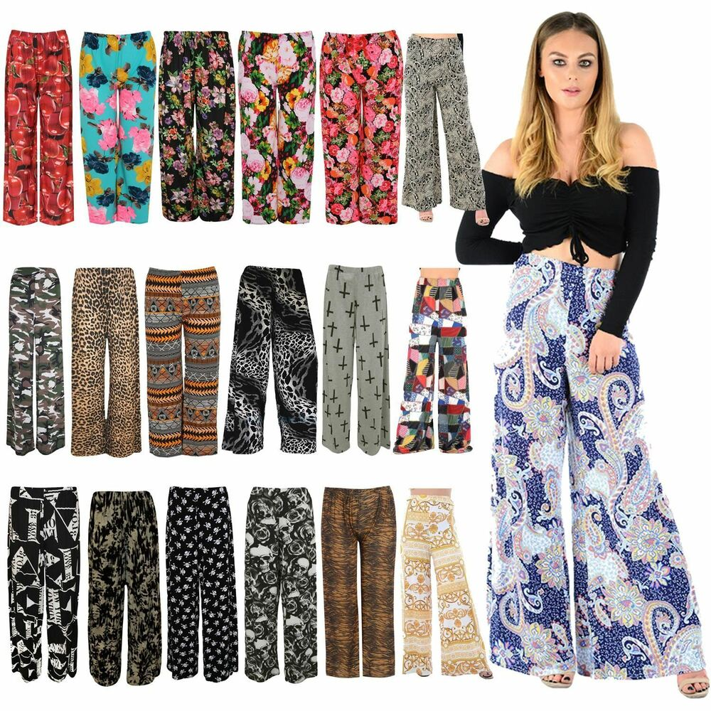 1958d8120c0 Details about New Womens Printed Plus Size Full Length Wide Leg Palazzo  Pants Trousers 8-30