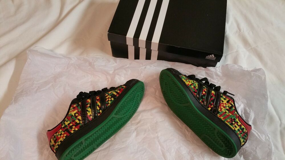 check out 67cf8 4e12c Mint ADIDAS SUPERSTAR WOVEN GREEN RED YELLOW BLACK 5 man women 7 Jamaica  Marley  eBay