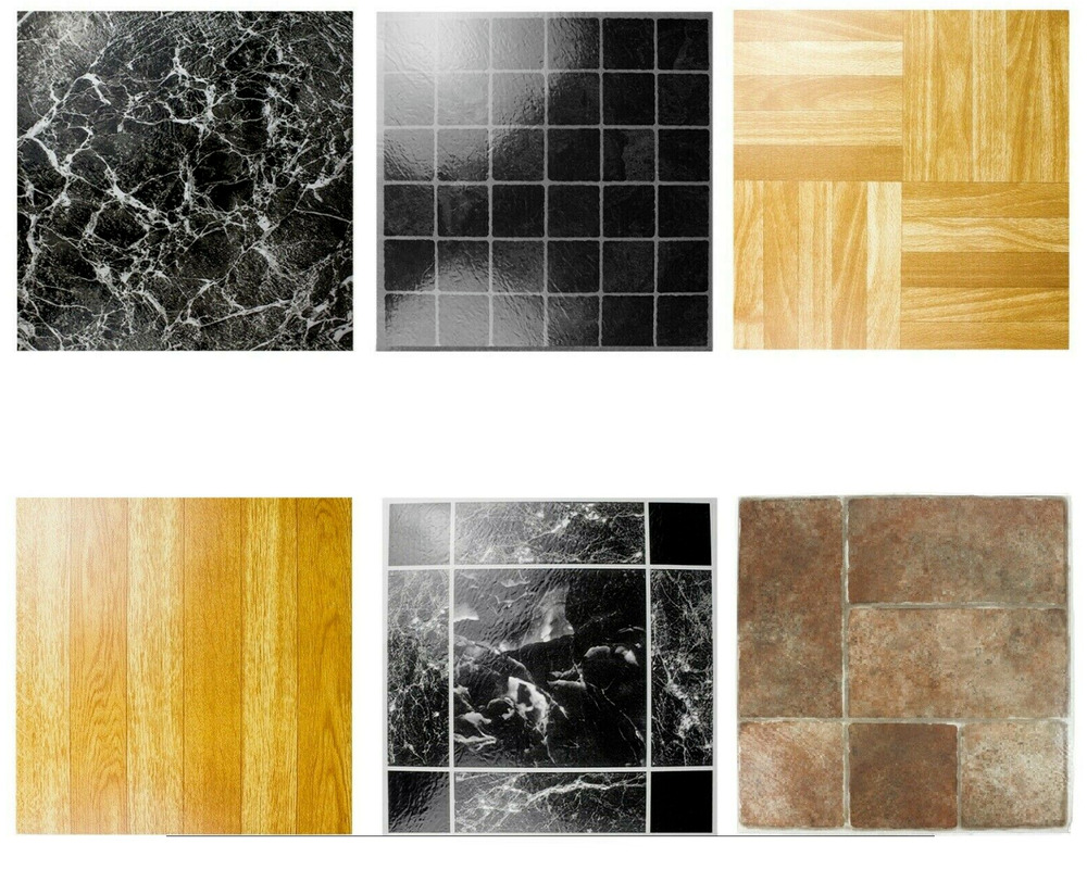 Light Oak Plank Wood Self Stick Adhesive Vinyl Floor Tiles: Self Adhesive Floor Tiles 4 Pack EasyFit Choose Marble