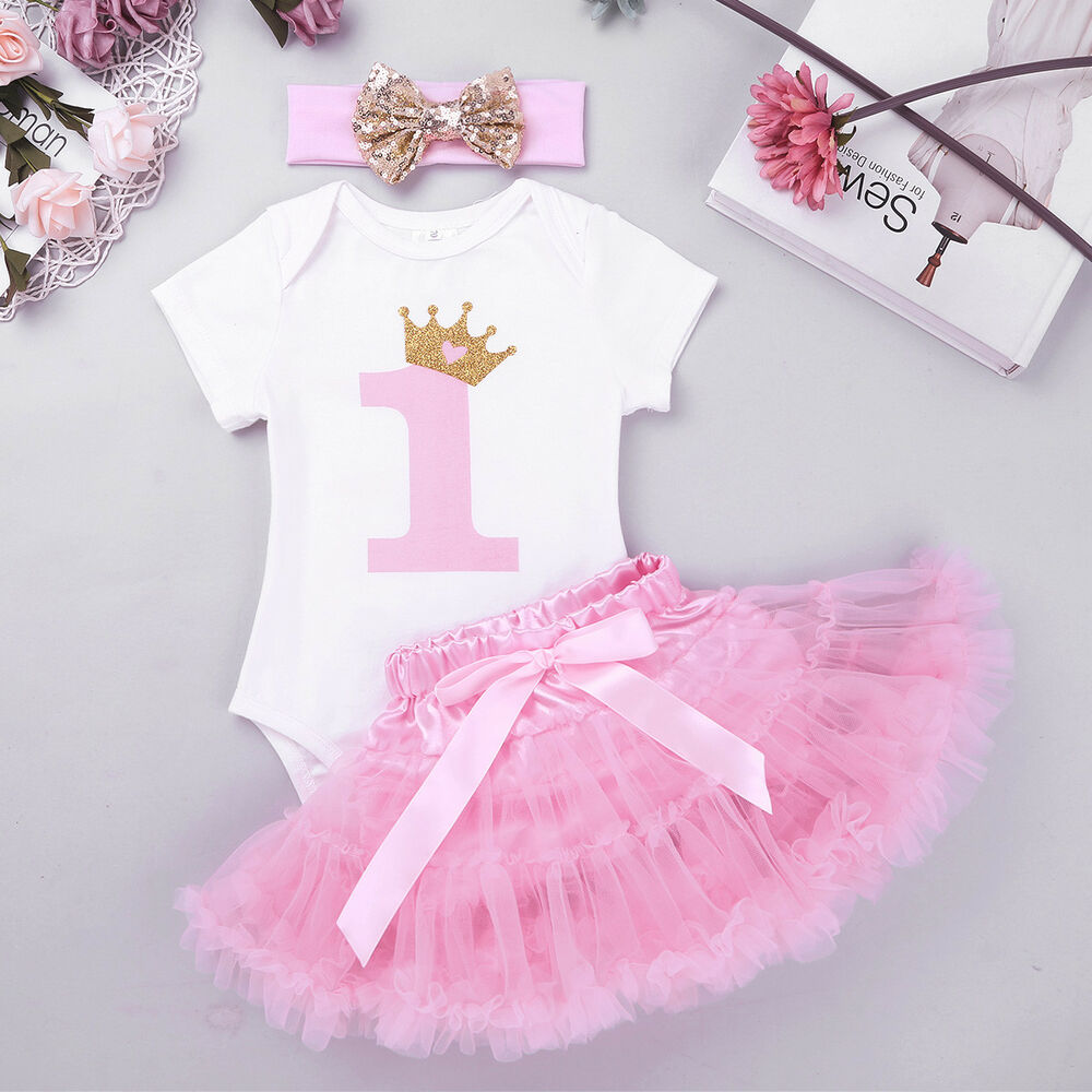 a0ebbd7ae10 Details about Toddler Girls 1st Birthday Party Outfit Bodysuit Dress Kids Tutu  Romper Headband