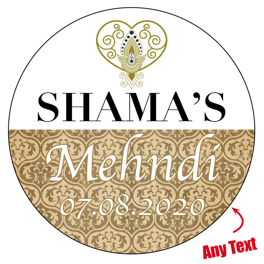 Details about personalised mehndi wedding engagement stickers paisley henna gloss matt 349
