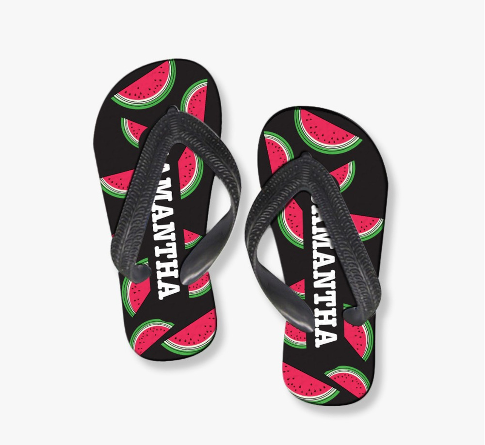 a1bedd2857caca Details about Sliced Watermelon Personalized Flip Flops