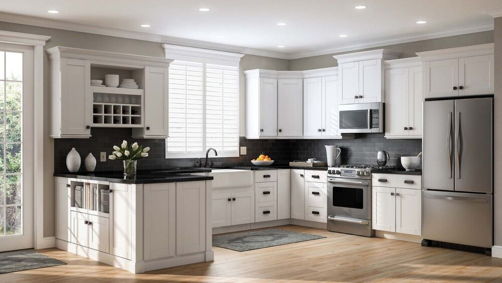 10'x10' White Shaker Solid Wood Kitchen Cabinets