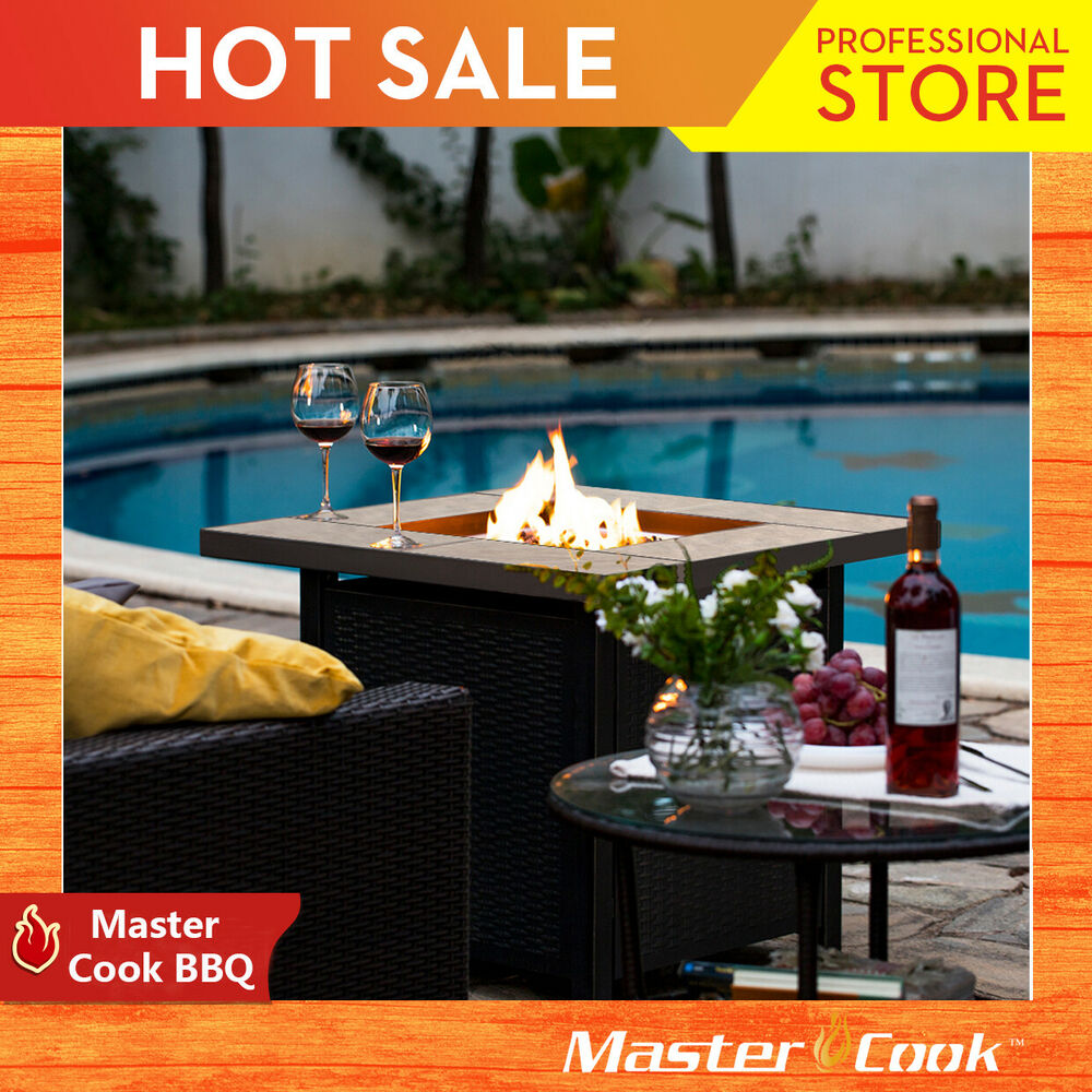 Bali Slate Propane Fire Pit Patio Heater Outdoor Gas Table Fireplace