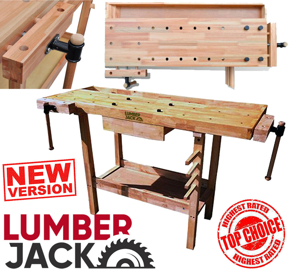 Wooden Workbench With Drawers Plans: Lumberjack Heavy Duty Solid Wooden Woodworking Work Bench