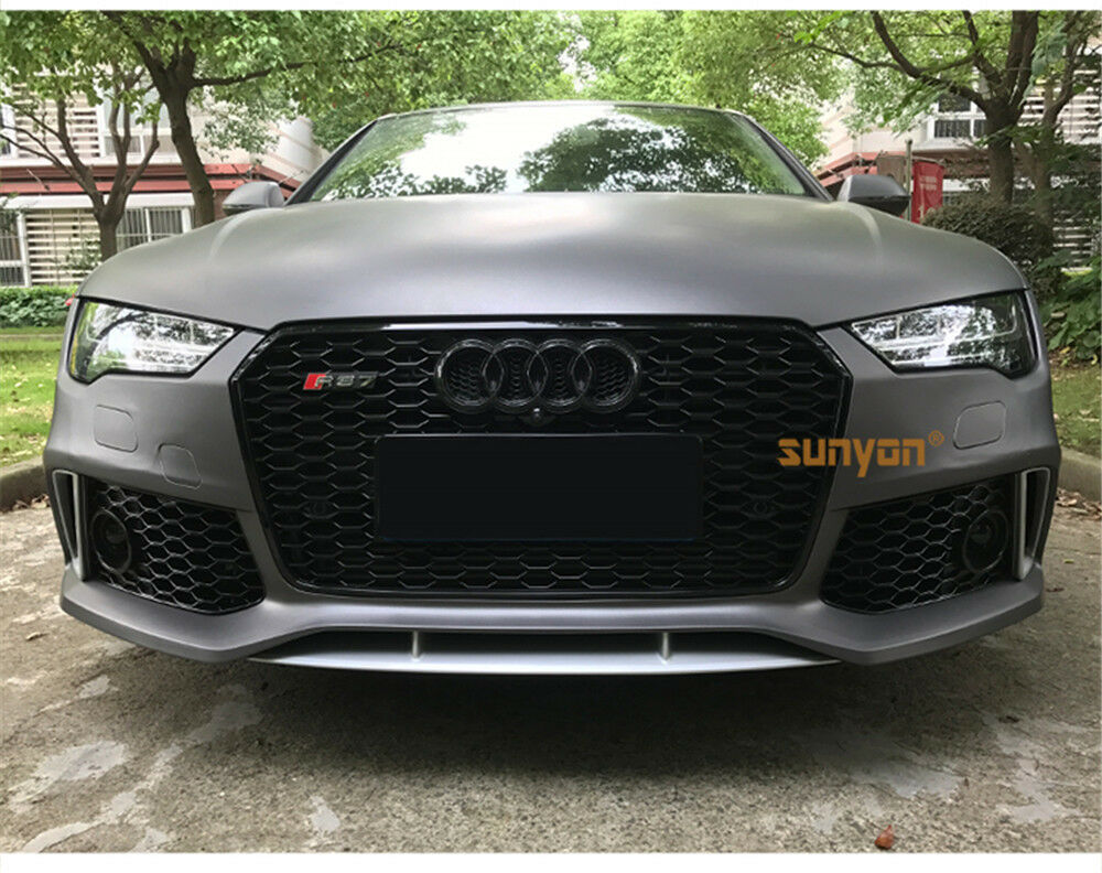 Full Black Front Mesh Grille Grill For Audi A7 Sline S7 2016 2018 To