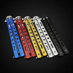 Stainless Steel Butterfly Balisong Comb Trainer Training Knife Dull Tool Silver