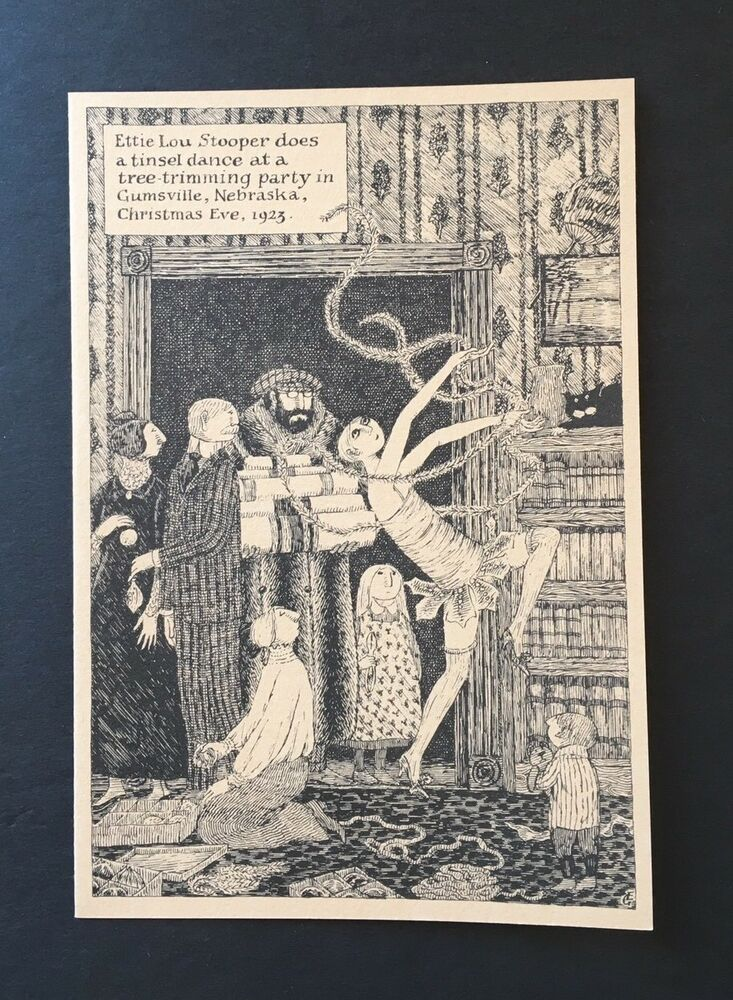 Edward Gorey *Ettie Lou Stooper* Christmas Card - LTD ED. -ILLUS. BY ...