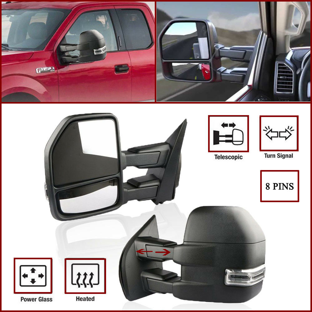 8 Pin Textured Power Heated Turn Signal Towing Mirrors For 15 17 International Mirror Wiring Diagram Ford F150 Truck Ebay