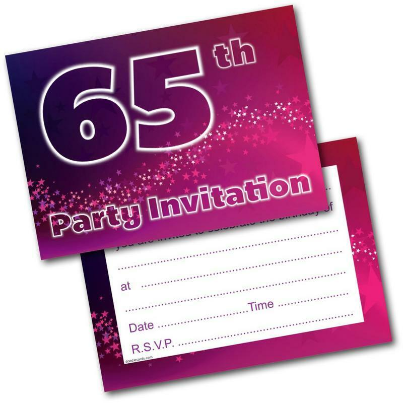 65th Birthday Party Invitations Age 65 Female Womens Pack Of 20 Invites Envs 5060370633708