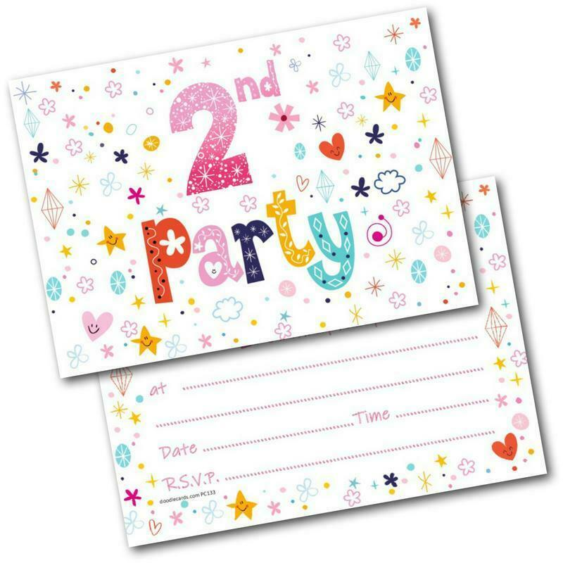 Details About 2nd Birthday Party Invitations Age 2 Female Girls Childrens Pack Of 20 Invites