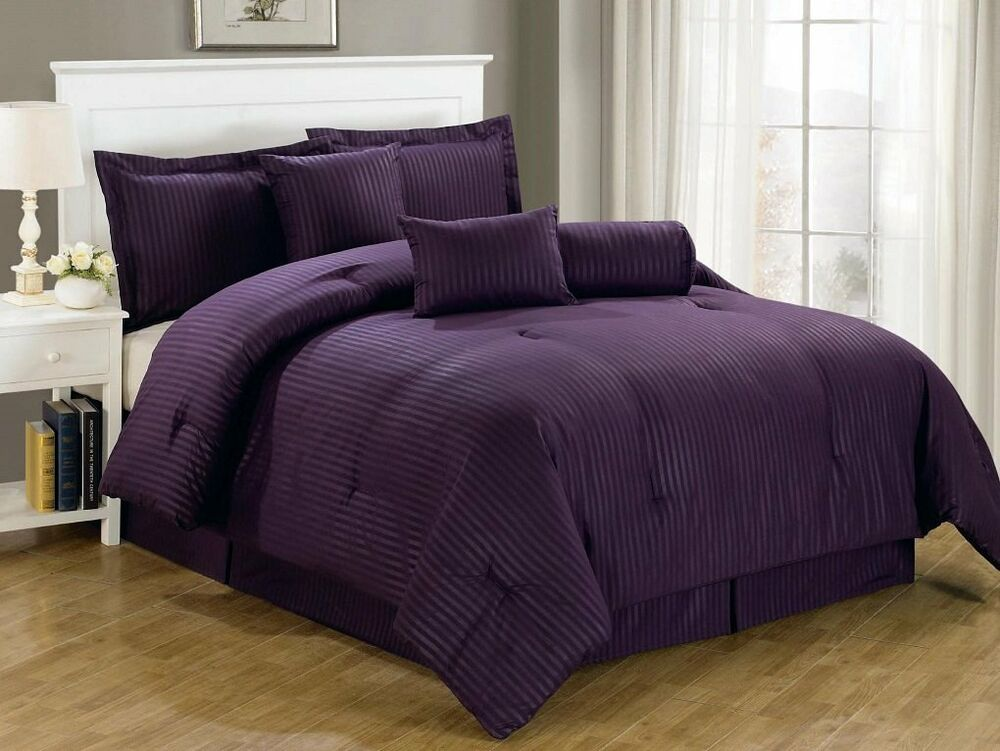 ba215c392015 Details about 7-Piece Queen Size Luxurious Comforter Set Bedding Purple Bedspread  Bed in a Bag