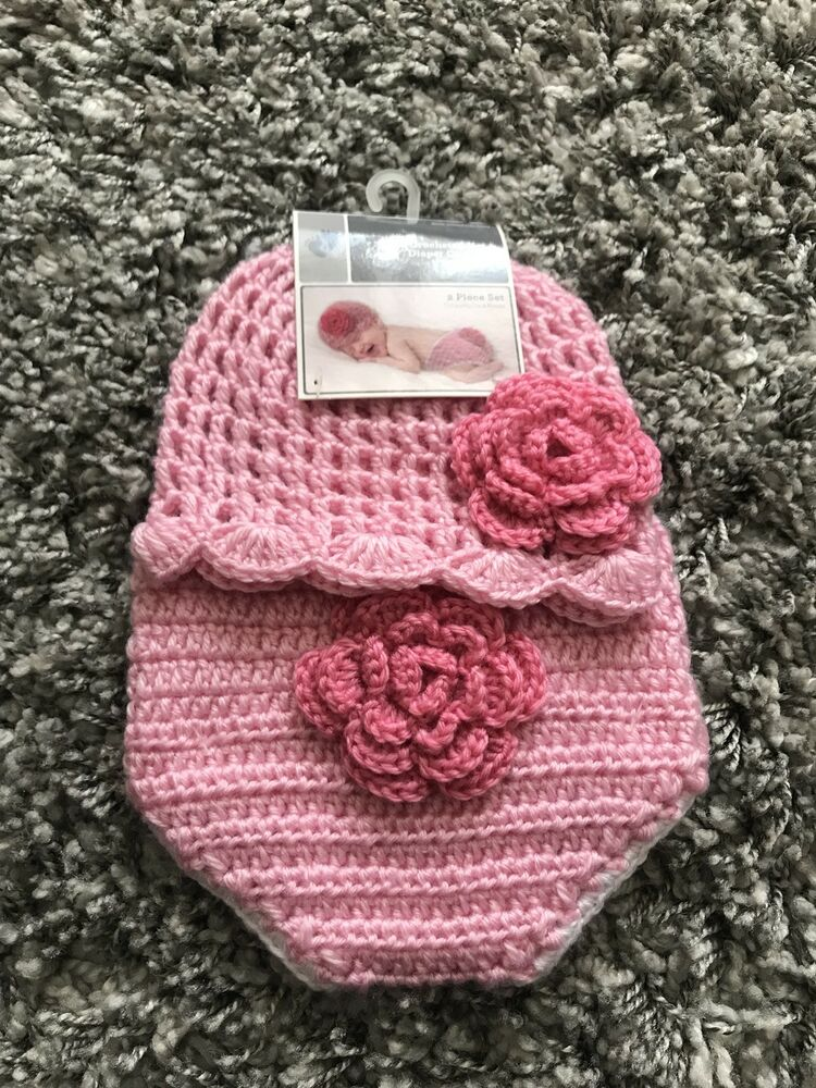 Crocheted Baby Diaper Cover And Hat Crochet Baby Set Baby Photo Prop