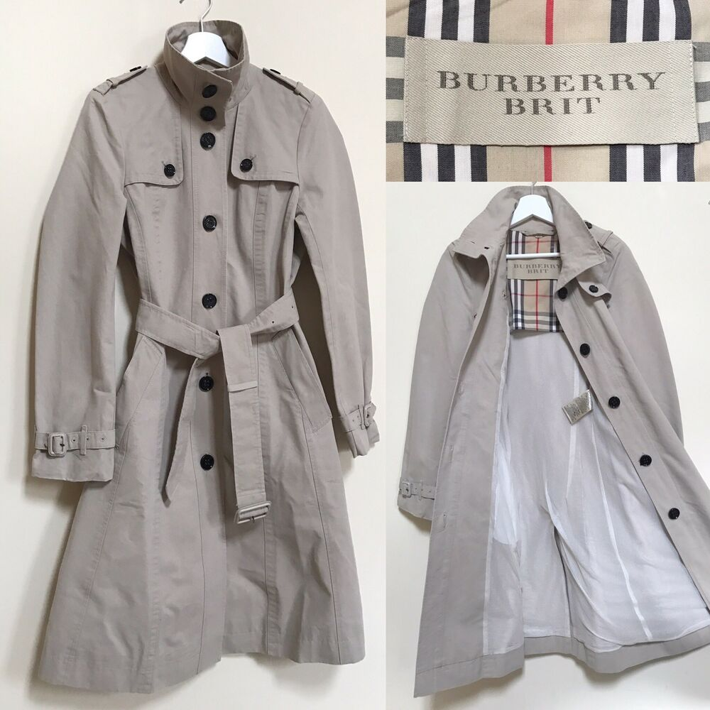 7555ab7d1049c Details about Burberry Brit Trench Coat Beige Single Breasted Cotton Mac  Raincoat S UK 8 10