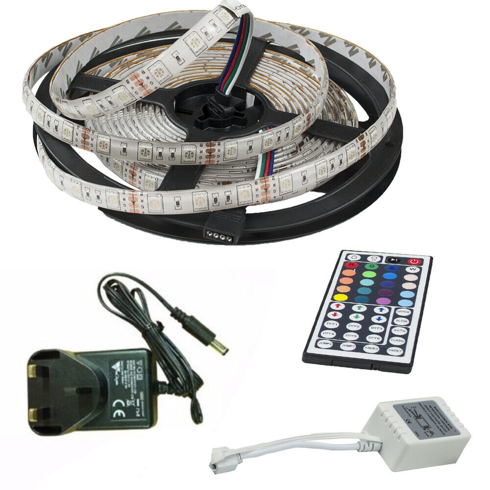 2x Led Under Cabinet Strip Lights 12w Led 12v Driver: RGB 5050 LED STRIP LIGHTS IP65 COLOUR CHANGE TAPE UNDER