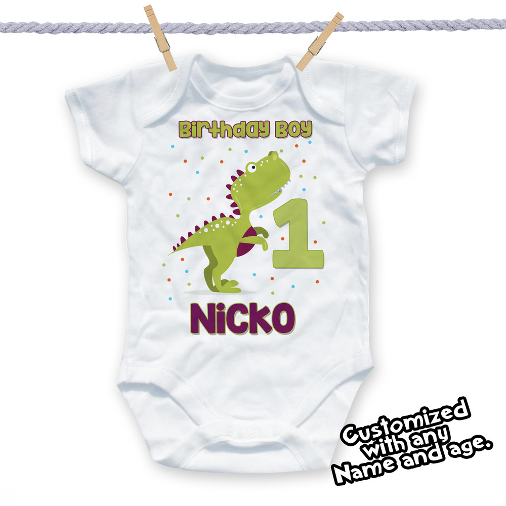 Details About 1st Birthday Dinosaur Shirt