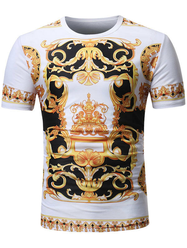 9d21e3e5 Details about Mens Cool Tshirt Top Designer Baroque Angel Print T-Shirt  Short Sleeve Cotton