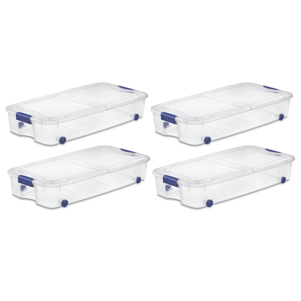 Details About Storage Plastic Containers Organizer Box Large 66 Qt Under Bed 4 Pack Bin Closet