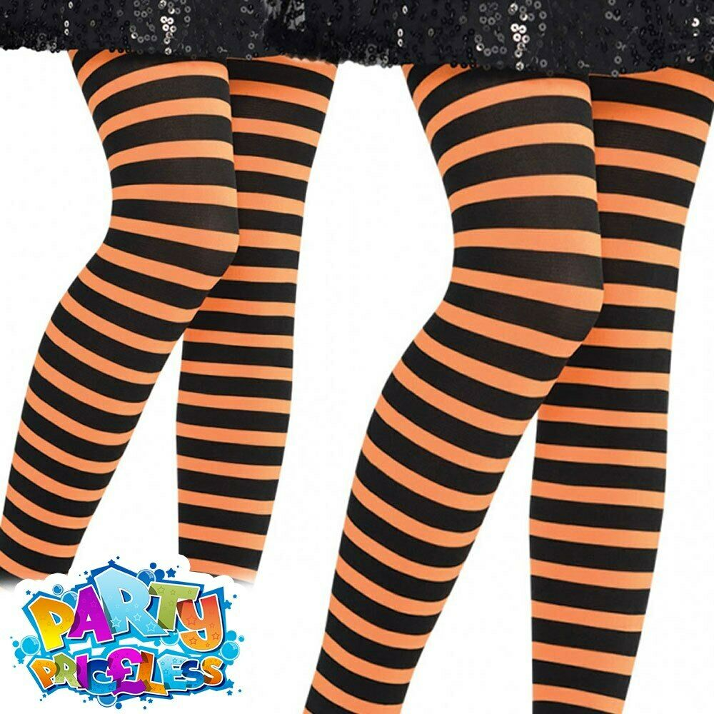 187dd1f4b4478 Details about Kids Orange And Black Striped Tights Child Girls Halloween  Pumpkin Fancy Dress
