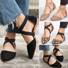 New Women Ankle Strap Ballet Flats Criss Cross Shoes Casual Pump Comfy Shoes US