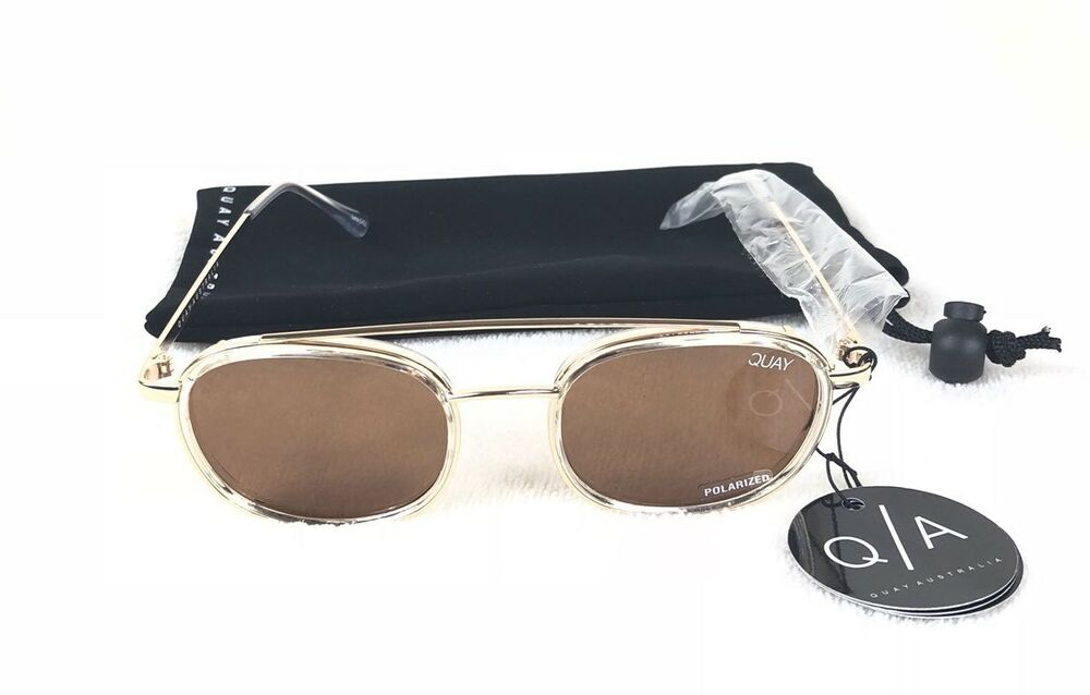 e0a88c02804 Details about Quay Australia Got It Covered Polarized Unisex Sunglasses  Rose Gold And Brown