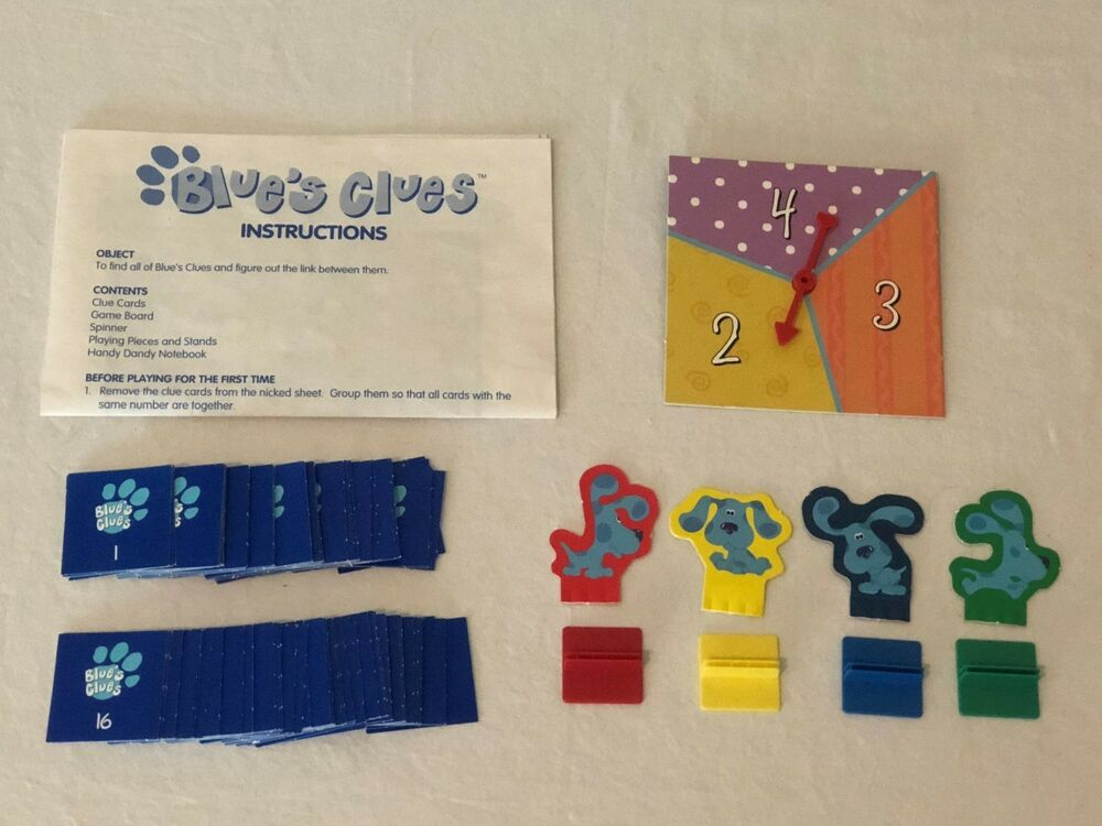 Blues Clues Board Game Replacement Parts Pieces Clue Cards Spinner