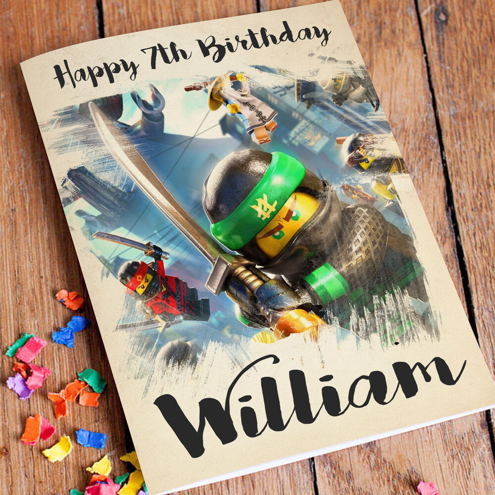 Details About NINJAGO Personalised Birthday Card FREE Shipping