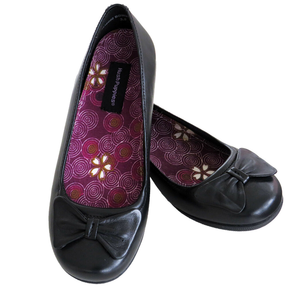 1b09c7ef5d0 Details about Hush Puppies BOWBRIGHT Ladies Womens Leather Slip On Ballerina  Pump Shoes Black