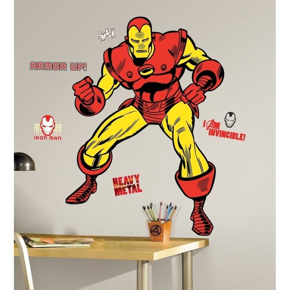 Details about iron man 47 giant wall decals classic marvel room decor stickers comics avenger