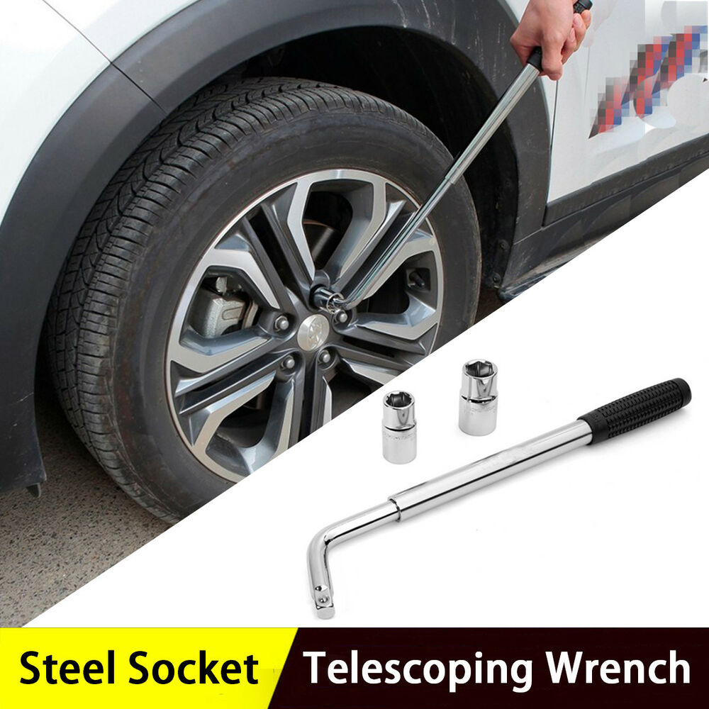 Details About Adjule Lug Nut Wrench With Socket Wheel Tire Change 17 19mm 21 23mm
