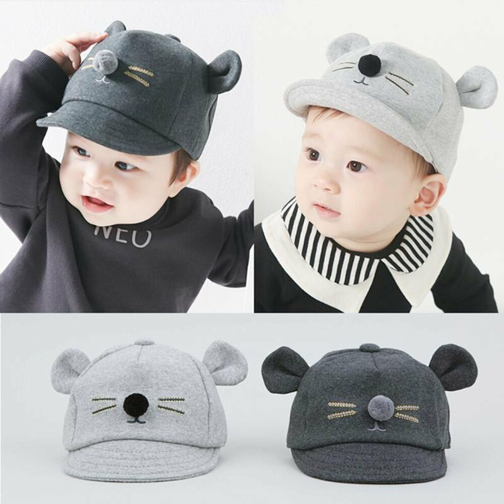 6caae5ed868 Details about Cute Infant Toddler Kids Baby Caps Girls Boys Cat Ear Hats  Cotton Baseball Cap