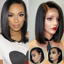 Brazilian Glueless Women Short Straight Bobo Wig Front  Hair Side-parted
