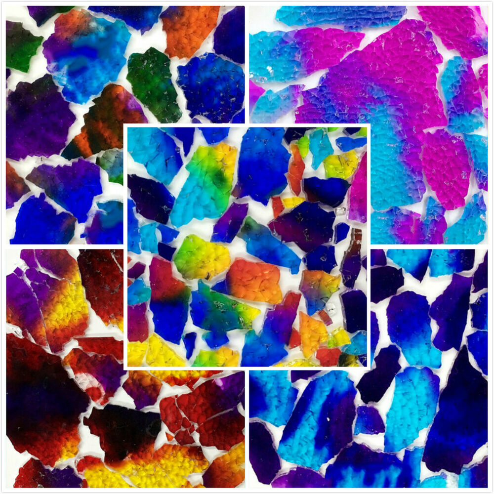 Multi Color Ice Cracked Glass Mosaic Tiles Diy Crafts