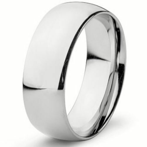 Stainless Steel Mens Wedding Band Ring 8mm: 8mm Wide Pure Solid 925 STERLING SILVER Plain Wedding Band