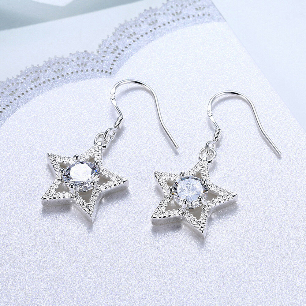 29b43367f Details about Womens 925 Sterling Silver Elegant CZ Crystal Star Drop  Dangle Earrings #E244