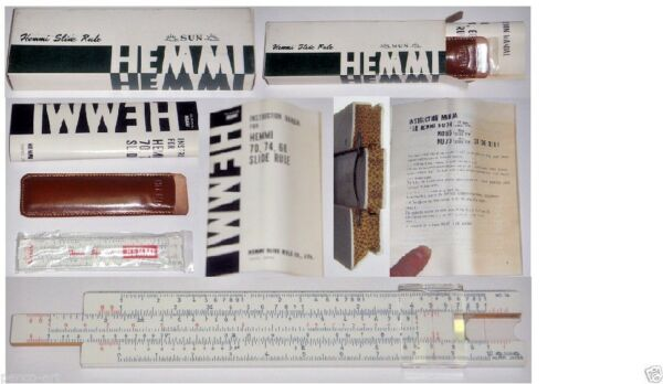 New 1969 Sun Hemmi 74 bamboo 15cm Reitz slide rule + instructions leather wallet