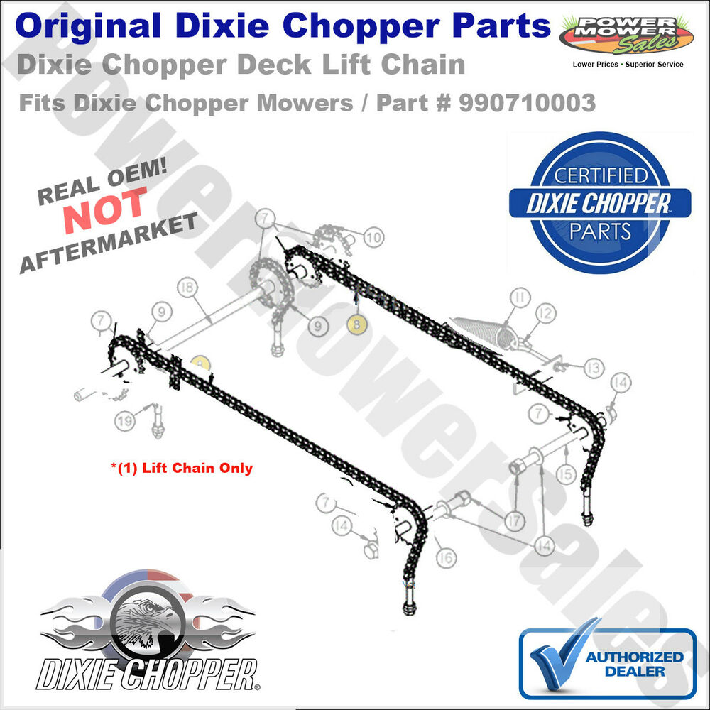 Dixie Chopper Mower Deck Parts Classic Wiring Diagram Genuine Rear Lift Chain Part Ebay 1000x1000