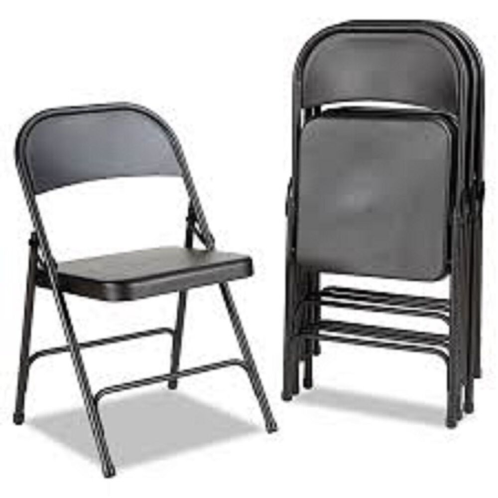 Metal Folding Chairs Set Of 4 Black Portable Indoor