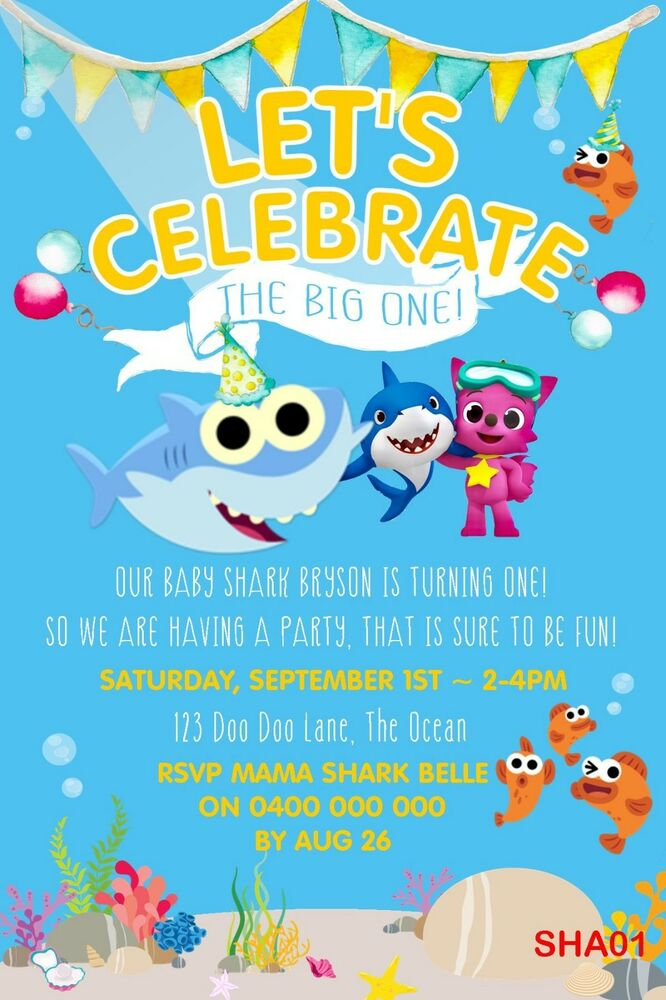 Personalised Baby Shark Birthday Invitation