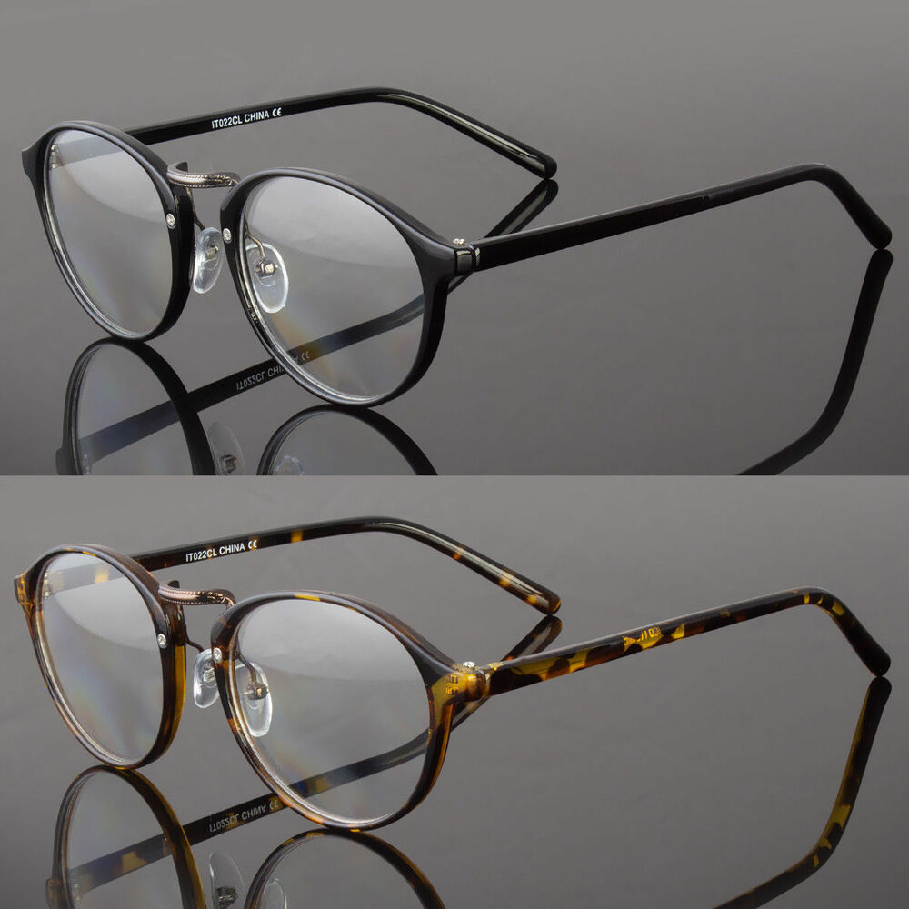 New Vintage Style Clear Lens Round Eye Glasses Gold Black