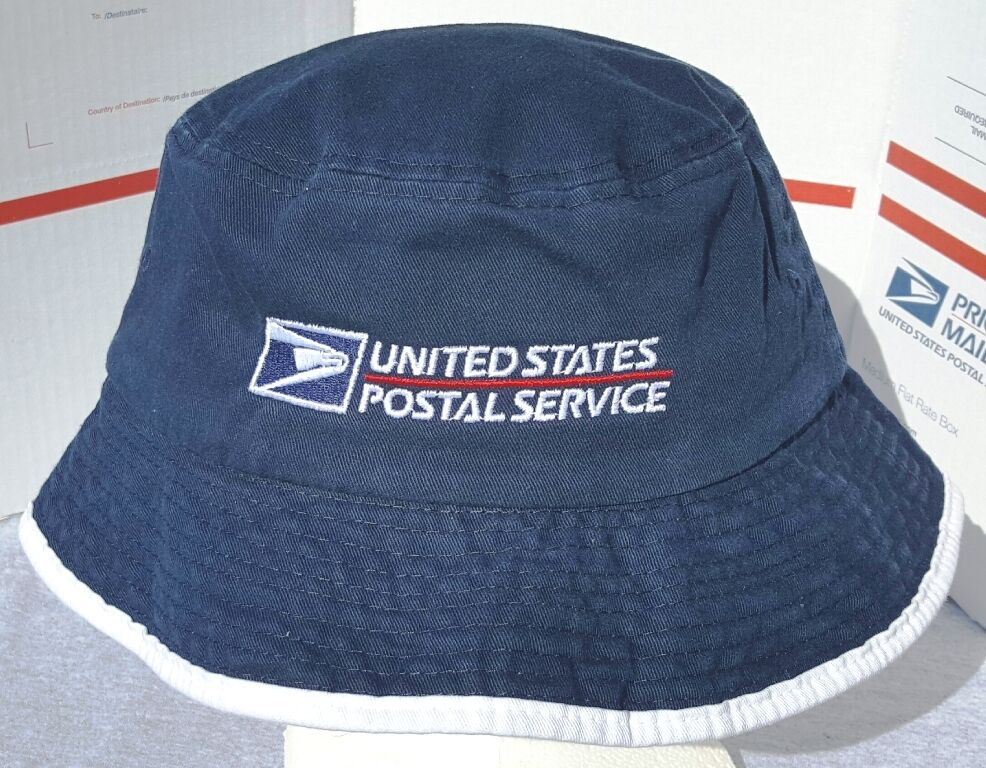 Details about USPS POSTAL NAVY   WHITE BUCKET HAT WITH POSTAL LOGO  EMBROIDERED ON FRONT f3ff9bc7573