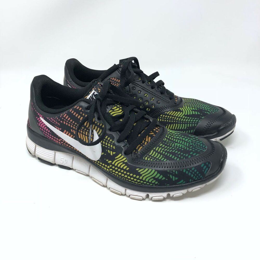 low priced 8eb7d 3515f Details about Women s Nike Free 5.0 Sneakers Shoes Zig Zag Multicolor Green  Pink Gym Size 7.5