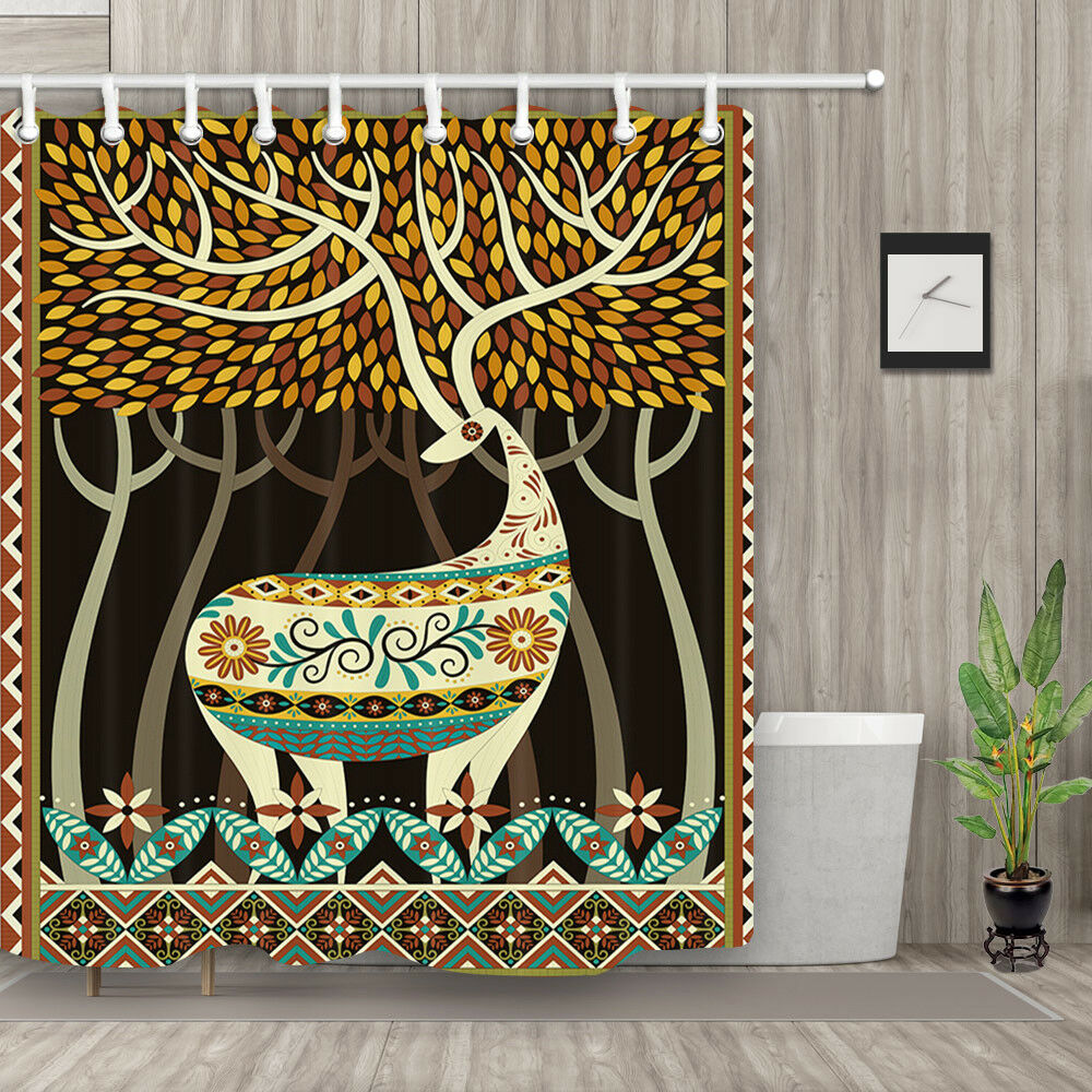 Details About Deer With Big Antlers In Woodland Shower Curtain Bathroom Fabric 12hooks 71in