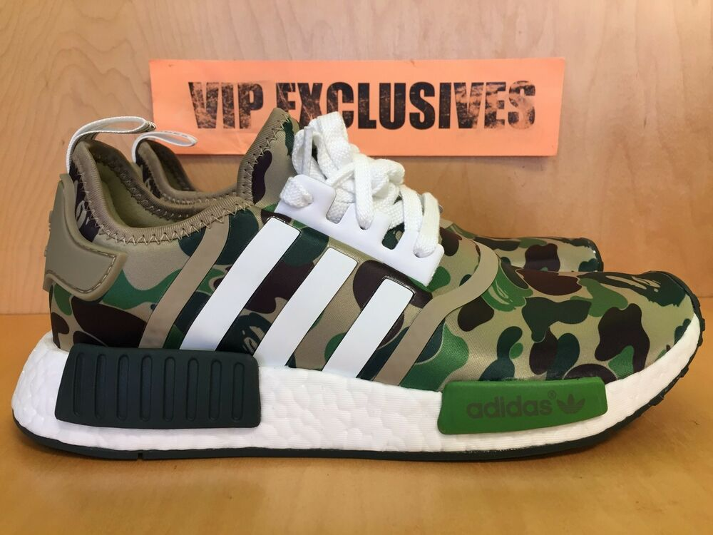 8f556718f1c03 Adidas NMD R1 Bape Green Camo Army Bathing Ape Nomad Runner BA7326 SHIPPING  NOW