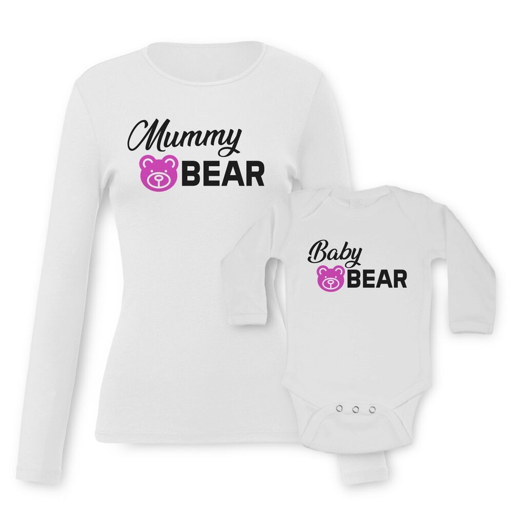 a2ea751c Details about Mama Mummy Bear, Baby Bear Baby Vests Moms T-shirt Tees Set  Funny Graphic Print